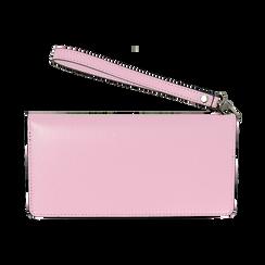 Portafoglio rosa in eco-pelle con laccetto per il polso, Borse, 133723651EPROSAUNI, 004 preview