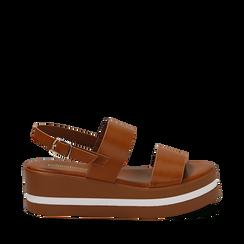 Sandali platform cuoio in eco-pelle, zeppa 5 cm , Saldi Estivi, 132147512EPCUOI035, 001a