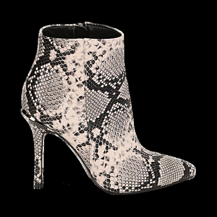 Ankle boots beige/neri effetto snake, tacco 11 cm , Stivaletti, 142182015PTBENE035