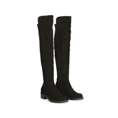 Stivali neri scamosciati con gambale alto sopra il ginocchio, tacco 3 cm, Primadonna, 122808641MFNERO, 002 preview