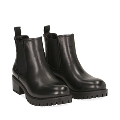 Chelsea boots neri in eco-pelle, tacco 4,5 cm , Scarpe, 143096910EPNERO035, 002a