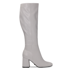 Stivali bianchi punta arrotondata, tacco 7,5 cm, Scarpe, 122182011EPBIAN, 001 preview