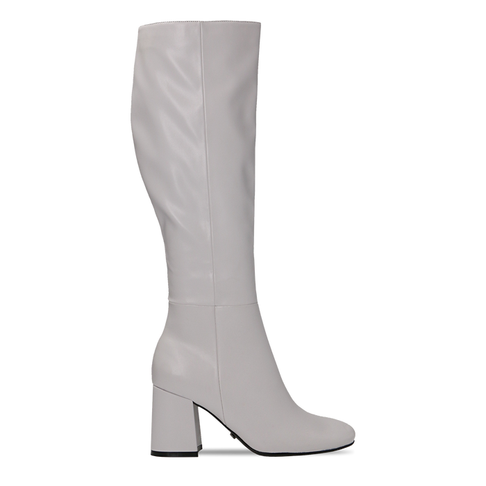 Stivali bianchi punta arrotondata, tacco 7,5 cm, Scarpe, 122182011EPBIAN
