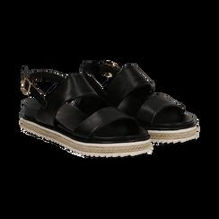 Sandali platform neri in eco-pelle, zeppa 4 cm, Saldi, 132172081EPNERO036, 002 preview