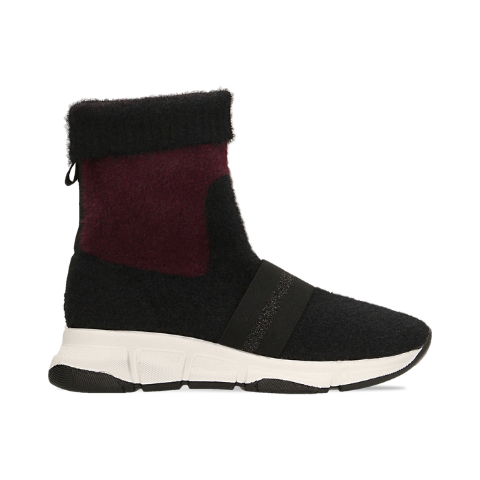 Sneakers nero-rosse sock boots con suola in gomma bianca, Primadonna, 124109763TSNERS036