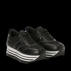 Sneakers flatform nere in eco-pelle, zeppa 4 cm, Scarpe, 139300004EPNERO035, 002a