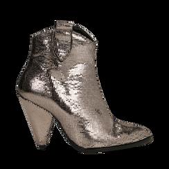 Tronchetti effetto metallizzato bronzo, tacco a cono 10,5 cm, 12A403955PTBRON037, 001a