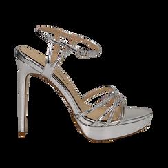 Sandali argento specchio con plateau, tacco stiletto 13 cm, Sandali con tacco, 132182183SPARGE035, 001 preview
