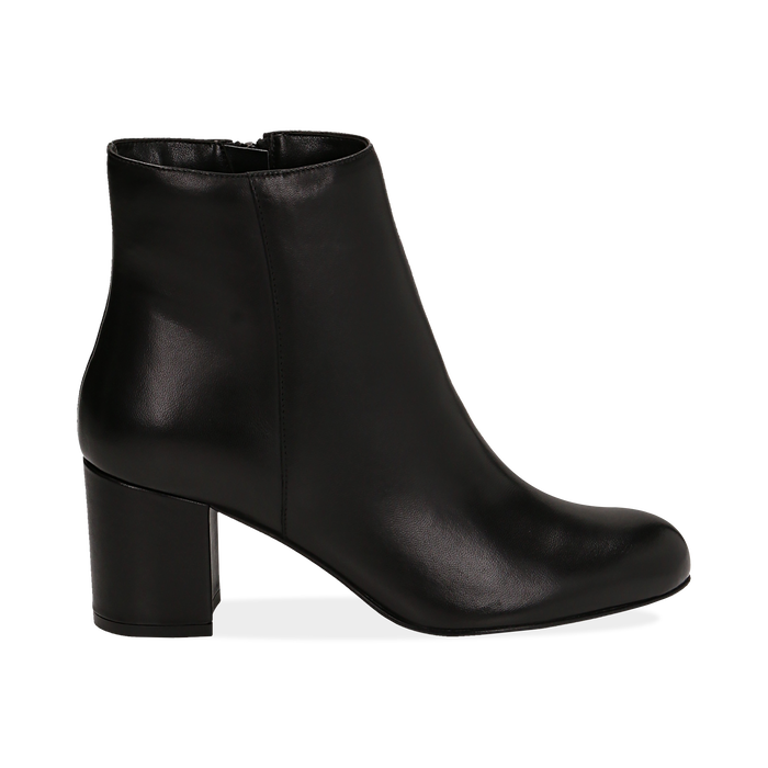 Ankle boots neri in pelle, tacco 7 cm