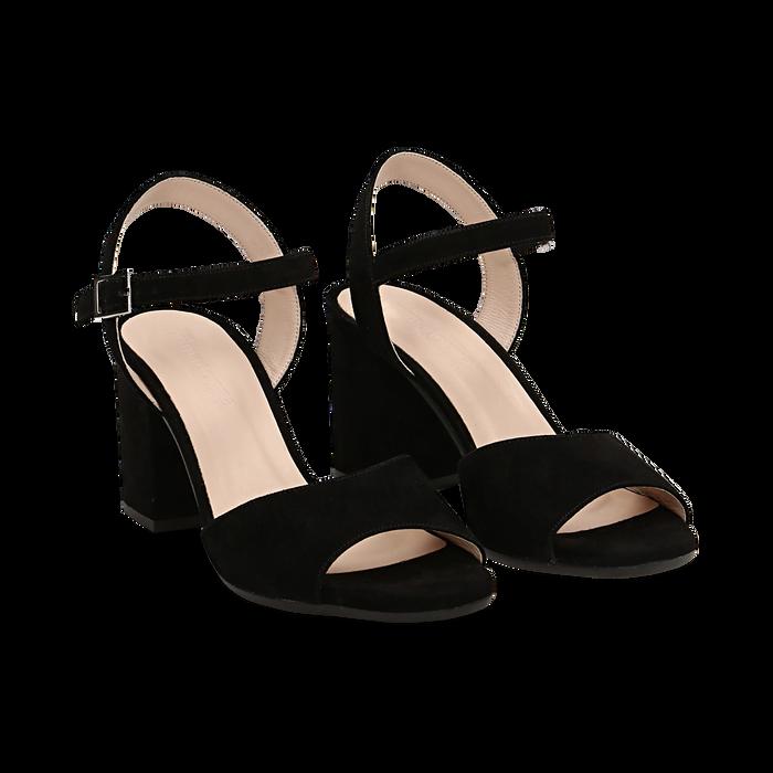Sandali neri in camoscio, tacco a colonna 8 cm