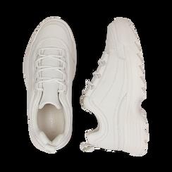 Dad shoes bianche in eco-pelle con suola sagomata, Scarpe, 130101201EPBIAN037, 003 preview