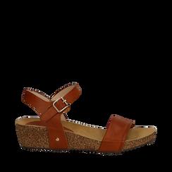 Sandali platform cuoio in eco-pelle, zeppa in sughero 4 cm , Saldi Estivi, 132161102EPCUOI035, 001a