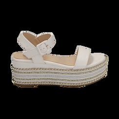 Sandali bianchi in eco-pelle, zeppa 7 cm , Primadonna, 154932211EPBIAN035, 001 preview