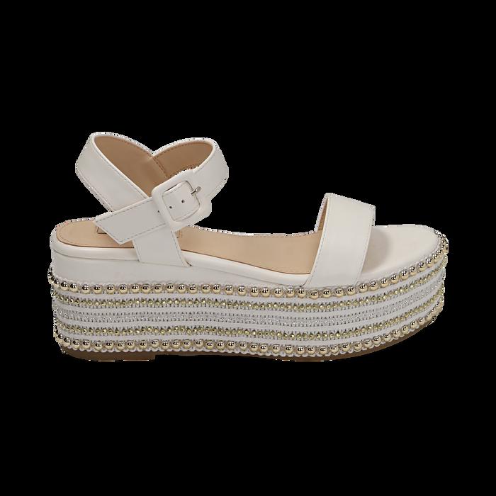 Sandali bianchi in eco-pelle, zeppa 7 cm , Primadonna, 154932211EPBIAN035