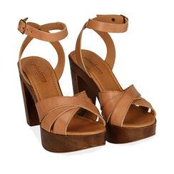Sandales en cuir noir, talon de 11,5 cm, 174304931PEBEIG037, 002a