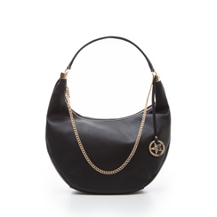 Hobo bag nera in eco-pelle, Borse, 133818123EPNEROUNI, 001a