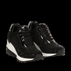 Sneakers nere in lycra con brillantini, zeppa 6 cm , Scarpe, 14A718206LYNERO035, 002a