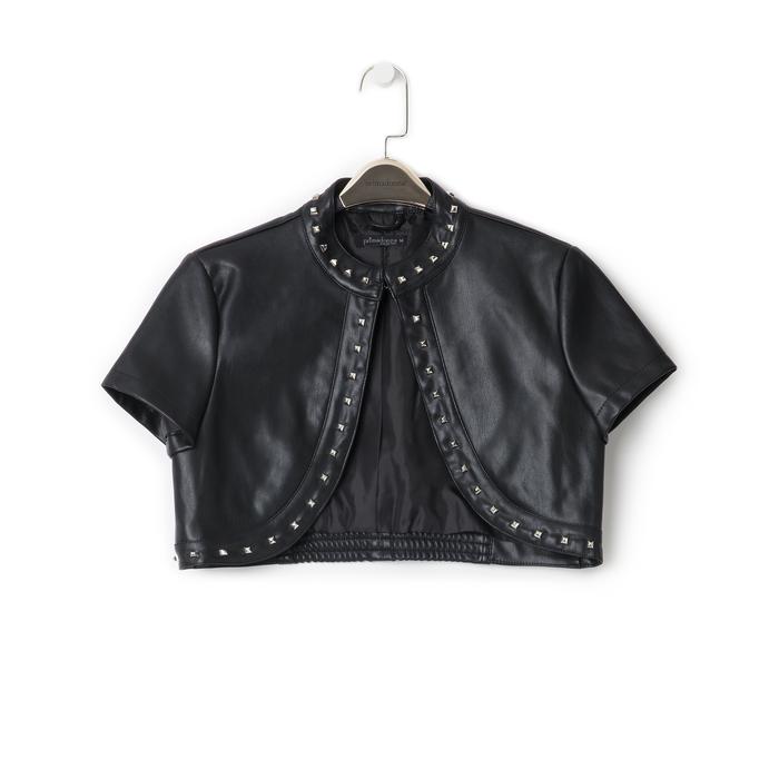 Giacca bolero nera in eco-pelle con borchie, Primadonna, 136518172EPNEROL