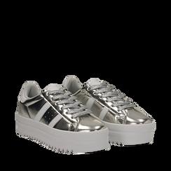 Sneakers argento in laminato con suola platform 4 cm, 130101010LMARGE035, 002a