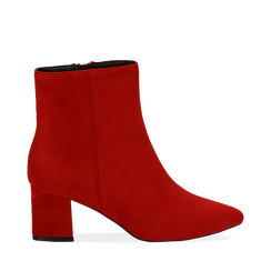 Ankle boots rossi in microfibra, tacco 6 cm, Stivaletti, 144916811MFROSS035, 001a