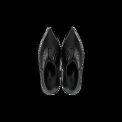 Tronchetti neri con oblò metallo, tacco 7 cm, Scarpe, 128405082EPNERO, 004 preview