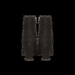 Tronchetti neri in vero camoscio, tacco 10 cm, Scarpe, 12D615110CMNERO, 003 preview