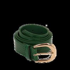 Cintura verde in eco-pelle stampa cocco, Abbigliamento, 144045701CCVERDUNI, 001a