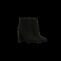 Tronchetti neri, tacco quadrato 10,5 cm, Scarpe, 122166720MFNERO, 002 preview