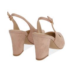 Slingback nude de microfibra, tacón 8,50 cm, Zapatos, 172183402MFNUDE037, 004 preview