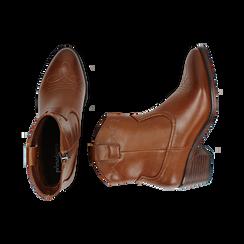 Ankle boots cuoio, tacco 5,50 cm, Primadonna, 150693111EPCUOI036, 003 preview