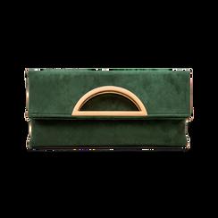 Pochette verde in microfibra scamosciata, Saldi Borse, 123308714MFVERDUNI, 001 preview