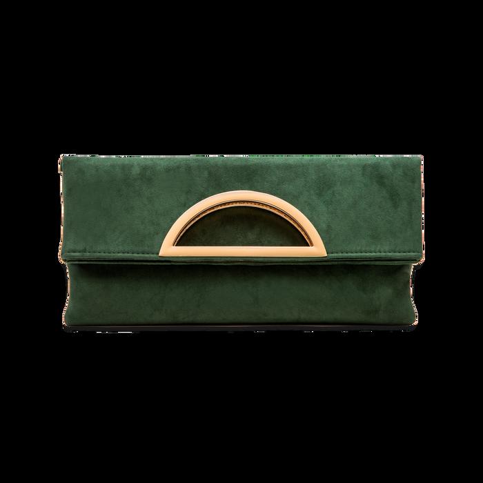 Pochette verde in microfibra scamosciata, Saldi Borse, 123308714MFVERDUNI
