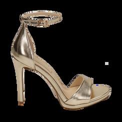 Sandalias en eco-piel laminada color dorado, tacón 11,50 cm , 152133410LMOROG035, 001a