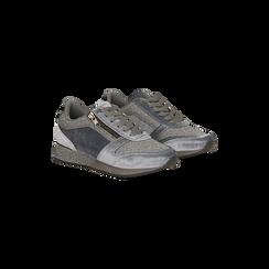 Sneakers grigie velluto e dettagli metal, Scarpe, 120127903VLGRIG, 002 preview