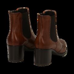 Ankle boots cuoio in pelle, tacco 6 cm , Stivaletti, 147711432PECUOI036, 004 preview