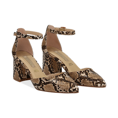 Décolleté en eco-piel con estampados de serpiente y tira color beige, tacón 6,50 cm, Zapatos, 152182391PTBEIG039, 002 preview