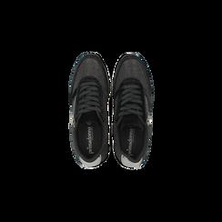 Sneakers nere velluto e dettagli metal, Scarpe, 120127903VLNERO, 004 preview