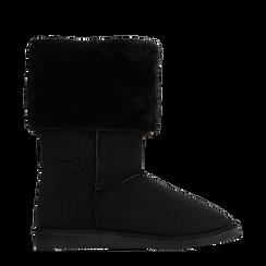 Scarponcini invernali scamosciati neri con risvolto in eco-fur, Primadonna, 125001204MFNERO038, 001a