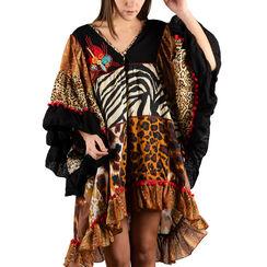 Caftán con estampado de leopardo en tejido patchwork, Primadonna, 150500090TSLEOPUNI, 001a