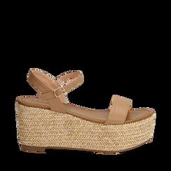 Sandali platform cuoio in eco-pelle, zeppa in corda 8 cm, Primadonna, 134983293EPCUOI035, 001a