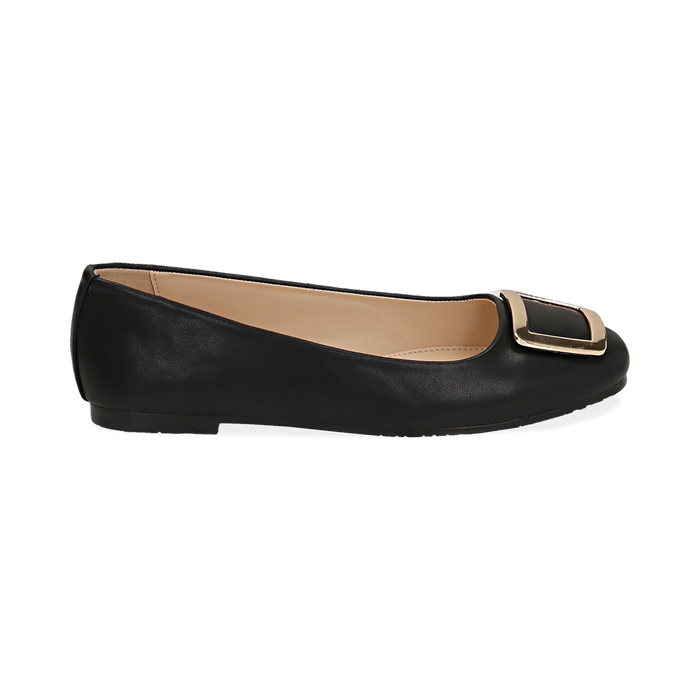Bailarinas con hebilla de ecopiel en color negro, Zapatos, 154969811EPNERO038