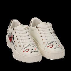 Sneakers bianche in eco-pelle con pietre e stampe cartoon, Sneakers, 15E908470EPBIAN035, 002a