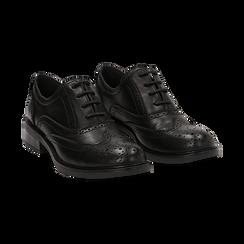 Stringate nere in eco-pelle con lavorazione Duilio, Scarpe, 140618203EPNERO036, 002 preview