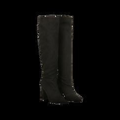 Stivali neri scamosciati con gambale dritto, tacco quadrato 9,5 cm, Scarpe, 122166717MFNERO036, 002