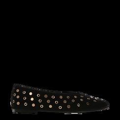 Ballerine nere in microfibra scamosciata e mini-borchie, tacco basso, Scarpe, 124991821MFNERO035, 001a