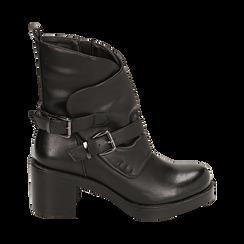 Biker boots neri con fibbie in eco-pelle, tacco 7 cm , Scarpe, 143091353EPNERO035, 001a