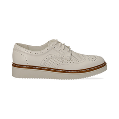 Stringate flatform bianche in eco-pelle, Scarpe, 133009503EPBIAN037, 001 preview