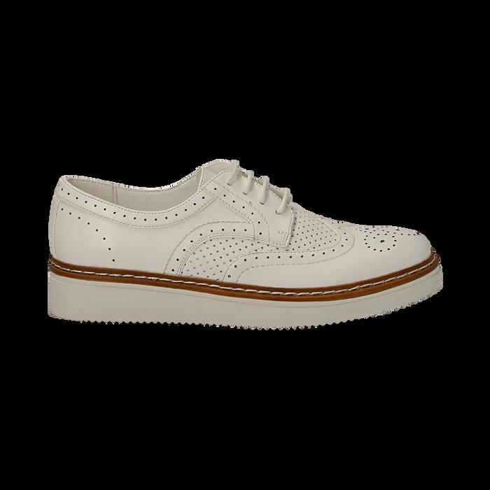 Stringate flatform bianche in eco-pelle, Scarpe, 133009503EPBIAN037