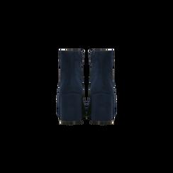 Tronchetti blu scamosciati, tacco medio 5 cm, Scarpe, 122762715MFBLUE, 003 preview