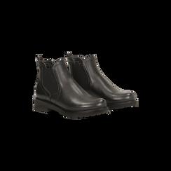 Chelsea Boots neri con tacco quadrato in gomma, Scarpe, 120802204EPNERO035, 002